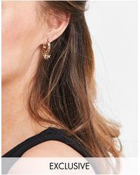 Reclaimed (vintage) Inspired The Star Hoop Earrings - Metallic