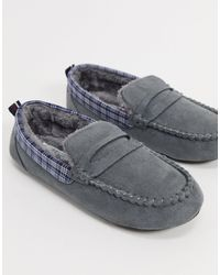 Original Penguin Moccasin Slippers With Check Collar - Grey