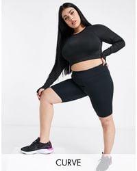 ASOS 4505 Curve Icon Booty legging Shorts With Bum Sculpt Detail - Black
