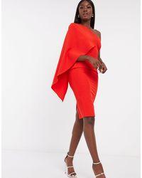Lavish Alice Эксклюзивное Красное Платье Миди На Одно Плечо С Кейпом -красный