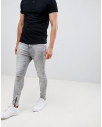 Religion - Skinny Fit Jean With Stretch And Zips In Grey - Lyst