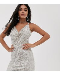 TFNC London - Cowl Neck Cross Back Sequin Mini Dress In Silver - Lyst