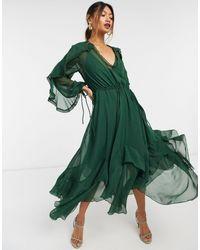 ASOS Зеленое Платье Миди С Оборками, Кружевной Вставкой И Бахромой - Черный