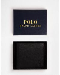 Polo Ralph Lauren Cartera plegable de cuero con bolsillo monedero - Negro
