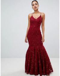 Club L London Vestido largo de tirantes de encaje con detalle de cola de pez y adorno de lentejuelas de - Rojo