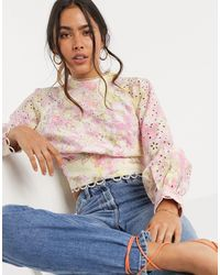 River Island Open Back Floral Print Broderie Blouse-multi - Pink