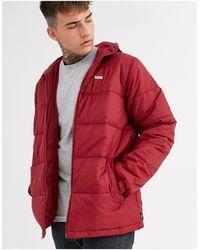 Vans Бордовая Дутая Куртка С Маленьким Логотипом -красный