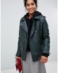 Urbancode - Longline Biker Jacket In Textured Faux Leather - Lyst