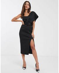 ASOS One Shoulder Belted Midi Pencil Dress - Black