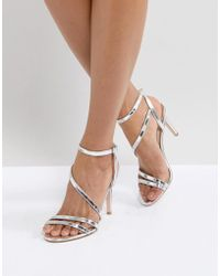 Faith - Delly Silver Heeled Sandals - Lyst
