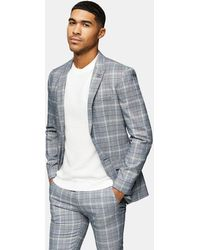 TOPMAN - Check Skinny Fit Suit Jacket With Notch Lapels - Lyst