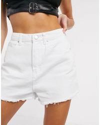 PrettyLittleThing High Waisted Denim Shorts - White