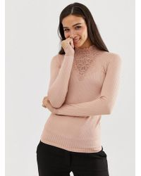 Y.A.S High Lace Neck Long Sleeved Top - Pink