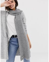 Oasis - Knitted Scarf In Grey - Lyst