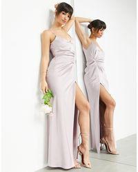 ASOS Robe nuisette longue en satin avec détail drapé - Lavande pâle - Violet