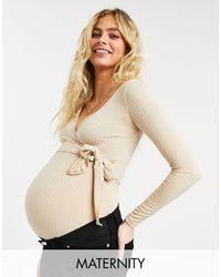 Flounce London Flounce Maternity - Body stile balletto avvolgente a coste color pietra - Neutro