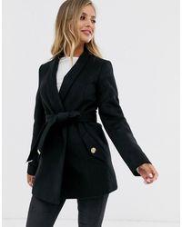 Lipsy Smart Wrap Coat In Black