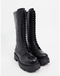 Vagabond Cosmo Lace Up Chunky Calf Boot - Black