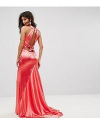 Jarlo High Neck Fishtail Maxi Dress With Strappy Open Back Detail - Red