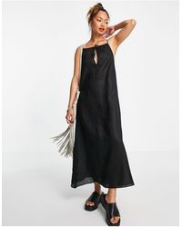 ALIGNE Organic Linen Halterneck Midi Dress - Black