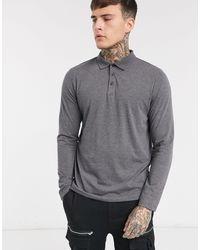 ASOS Organic Long Sleeve Jersey Polo - Gray