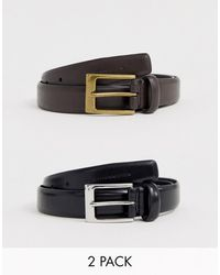 French Connection 2 Pack Prong Buckle Belt - Black