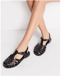 London Rebel Flat Jelly Shoes - Black