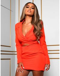 Public Desire X Amber Gill Wrap Detail Cropped Blazer Dress With Drop Waist - Orange