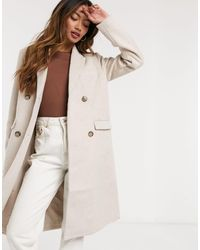 Y.A.S Wool Coat With Double Breasted Fastening - Natural