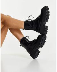 Truffle Collection Черные Ботинки С Квадратным Носком, На Массивной Подошве И Шнуровке -черный Цвет