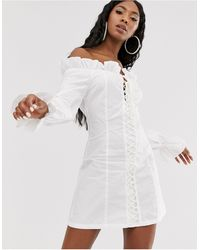 Public Desire Structured Bardot Mini Dress With Lace Up Front - White