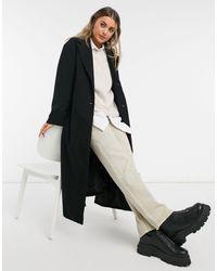 Monki Hildur - Manteau ajusté oversize avec ceinture - Noir