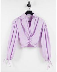 River Island Camisa corta violeta con detalle retorcido en la parte delantera - Morado