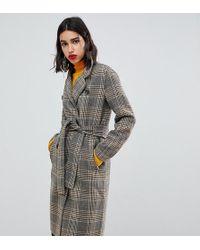 Mango Check Tie Waist Clean Coat In Brown