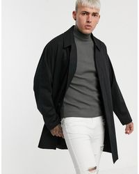 ASOS Single Breasted Lightweight Trench Coat - Black