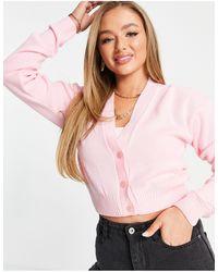 UNIQUE21 Розовый Кардиган С V-образным Вырезом -розовый Цвет