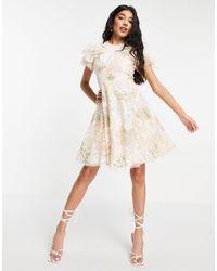 Needle & Thread - Кремовое Платье Мини Из Тюля С Вышивкой Elin Blossom-белый - Lyst