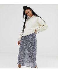 Daisy Street Button Front Midi Skirt - Grey