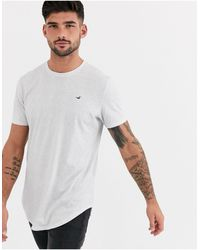 Hollister Icon Logo Curved Hem T-shirt - White