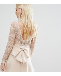 Club L - Allover Lace Top Mini Dress With Open Bow Back - Lyst