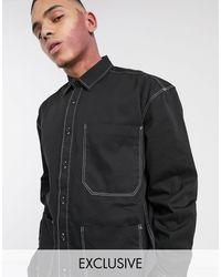Collusion Veste chemise fonctionnelle avec coutures contrastantes sur les poches - Gris