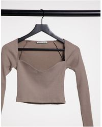 Pull&Bear Long Sleeve Top With Corset Detail Neckline - Pink
