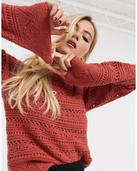 ASOS Crochet Sweater With Flared Sleeve