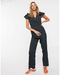 Pieces Polka Dot Ruffle Sleeve Jumpsuit - Black