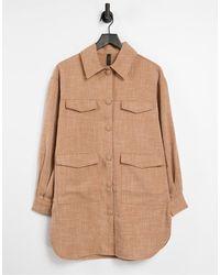 Y.A.S Светло-коричневая Удлиненная Рубашка С Карманами -коричневый Цвет