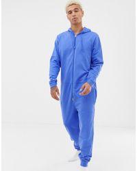 ASOS Pijama mono con capucha en azul