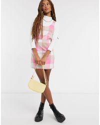 Monki Розовое Платье Мини В Клетку Hanna-розовый