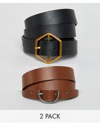 ASOS - 2 Pack Hexagon And Circle Buckle Waist And Hip Belts - Lyst