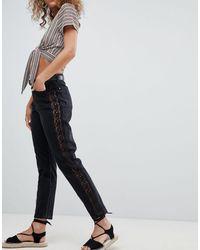 Miss Selfridge Crochet Side Stripe Mom Jeans - Black