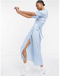 Vila Платье Миди В Белый Горошек С Объемными Рукавами И Запахом -многоцветный - Синий
